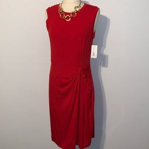 NEW Maison Jules Red Knit Knotted Dress